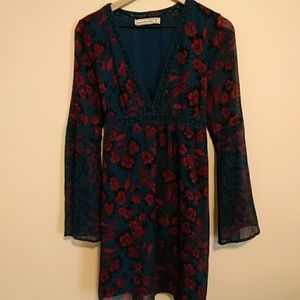 Abercrombie & Fitch blue and rose floral dress